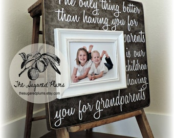 Grandparents Gifts, Gift For Grandparents, Grandparents Picture Frame, Grandma, Grandpa, MiMi, Papa, The Only Thing, 16x16 The Sugared Plums