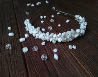 Headbands for Brides, Bridal Headpiece, Wedding Gemstone Crown, White Gemstone Crown, Rustic Head Wreath, Wedding Headband, Bridal Hairband