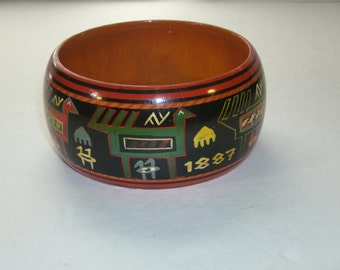 Hand Painted Wood Cuff Bracelet Native American Folk Art Inca Mexican Animal Primitive Art Vintage 1887 Varnished Painted Wood Jewelry