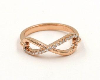 Art Deco Infinity Ring.0.15Ct. High Quality Diamond Infinity Band.Cluster Diamond Ring.14K Rose Gold Friendship Ring.Infinity Diamond Band