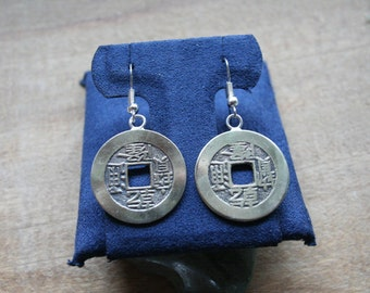 Authentic Old Good Luck Chinese Cash Coin Earrings on Sterling French Hooks.