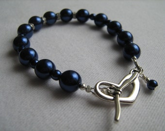 Navy Blue Faux Pearl and Crystal Bracelet