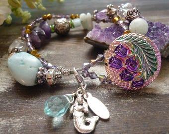 bracelet;  Czech button peacock  bracelet,  vintage inspired bracelet,  downton abbey, bracelet paon, verre tchèque