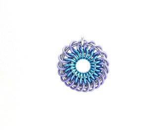 Pastel Chain Maille Pendant, Multicolor Pendant, Jump Ring Jewelry, Pastel Jewelry, Chain Maille Jewelry