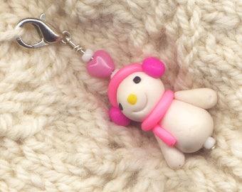 Snowman Stitch Marker Clip Marshmallow Snowmen Pink Scarf Let It Snow Each/ SM12E