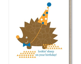 Birthday Card - Blank Greeting Card - Hedgehog