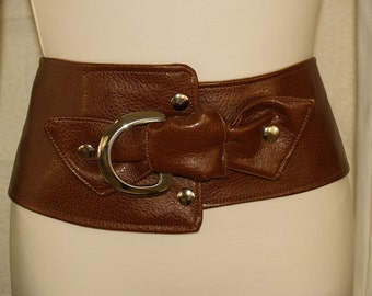 Brown Vegan Belt with Silver Metal Rigging Dee Accent