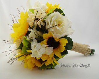 Sunflower Bouquet with Burlap, Rustic Fall Wedding, Calla Lily, Roses, Hydrangea