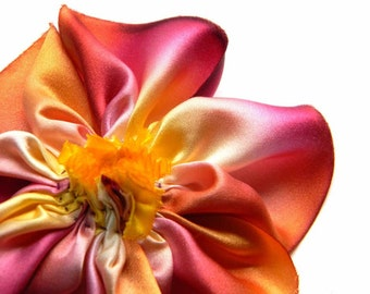 old flame silk flower brooch
