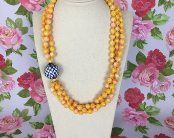 Triple Sunshine - handmade vintage style beaded necklace
