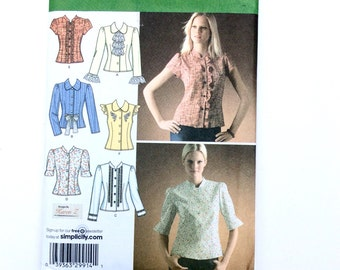 Simplicity 4077,  Women's Blouse Pattern, Jabot Pattern, Women's Top Pattern, Size 6, 8, 10, 12, 14, Uncut Pattern
