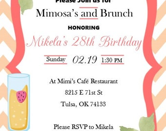 Mimosa Brunch Birthday Invitation