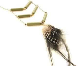 Chevron Necklace vintage tribal chevron necklace, mod chevron feather, army green chevron necklace, long chevron boho necklace