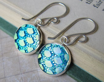 Mermaid Tales - Iridescent Aqua Mermaid Scale Earrings