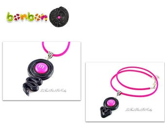 Roll licorice twist or licorice heart necklaces and candy MM's choice