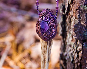 Amethyst Antler - One of a Kind Hand Sculpted Necklace