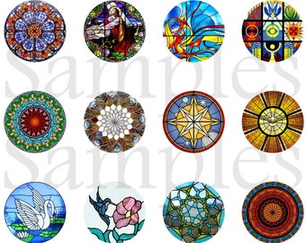 """Stained Glass Magnets, Stained Glass Pins, Stained Glass Windows Image, 1"""" Inch Flat Back Buttons, Cabochons, Badges, 12 Ct.,"""