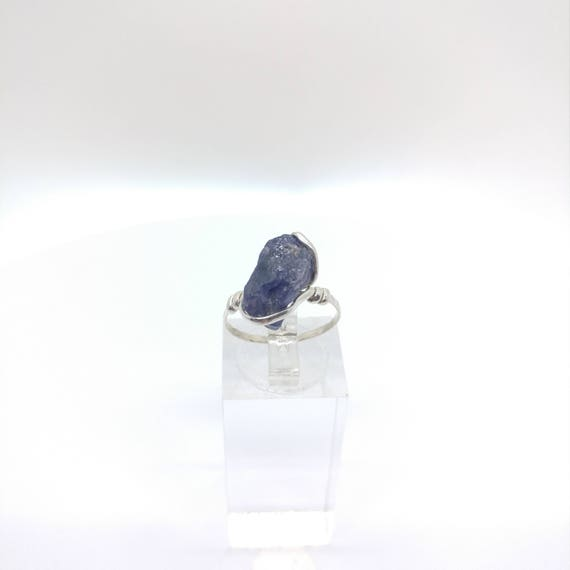 Raw Iolite Ring | Water Sapphire Ring | Raw Crystal Ring | Raw Stone Ring | Sterling Silver Ring Sz 7 | Raw Stone Ring | Rough Stone Ring