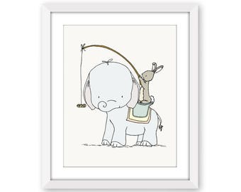 Elephant and Bunny Nursery Art -- Peanut Ride-- Elephant and Bunny --  Nursery Art -- Circus Nursery Decor-- Children Art, Kids Wall Art