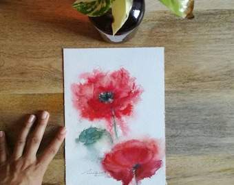 Watercolor poppies, original watercolor painting, floral watercolor, watercolor flowers deco unique original poppies