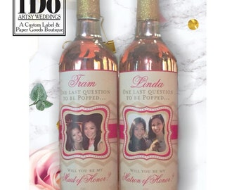 Bride Bridesmaid Gift - Personalized Wine Labels - Will you be my Bridesmaid - Personalized Label - Ask the Girls - Proposal Wine Labels