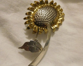 Vintage Sunflower Flower Pin Brooch - Sterling Silver 925 - Two Tone - Mexico M-226