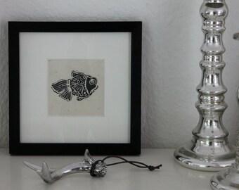 Hand-cut print 'Fish'