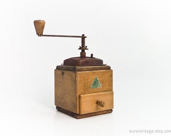 Vintage Wooden Coffee Mill grinder burgundy cayenne wood
