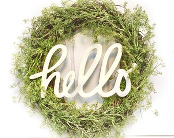 Hello Sign | Greenery Wreath | Grapevine Wreath | Front Door Wreath