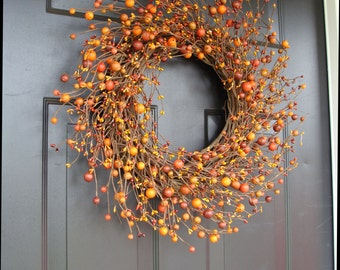 Fall Wreaths, Berry Wreath, Thanksgiving Decor, Rustic XL Wedding Decor 18-24 inches Available