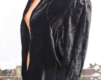 Simply Elegant Black Silk Velvet 1930s Jacket, Boho,