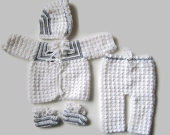 Coming Home Outfit, Crocheted Sweater Set, Grey and White, Size Newborn, Layette, Crochet Baby Clothes, Gender Neutral