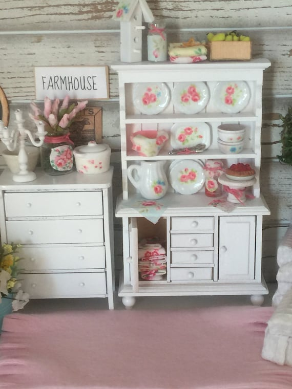 Miniature Shabby Cottage China Hutch and Accessories- 1:12 dollhouse scale