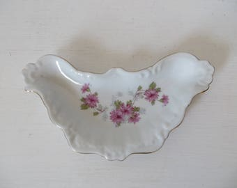 Porcelain Bone Dish with Aster Daisies