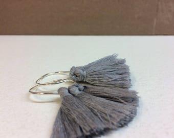 Tassel earrings/hoop tassel earring/silver hoop/grey tassel/christmas gift/silver/gift for her/personalized gift/minimal earring