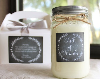 Thank you gift //Appreciation Gift// Thank you Candle//16 oz. Pure Soy//Choose Your Scent//Chalkboard Candle//Full of Thanks//