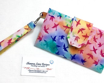 women's wallet, rainbow birds wallet, organizer wallet, checkbook, cell phone accessory, wristlet, ready to ship affordable gift