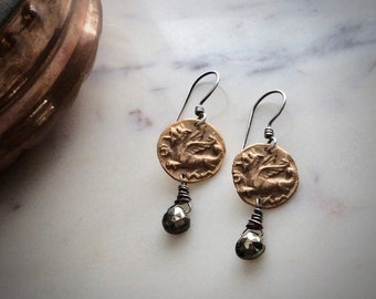 bronze dragon and pyrite earrings : folkloric jewelry, mythology jewelry, gift for her