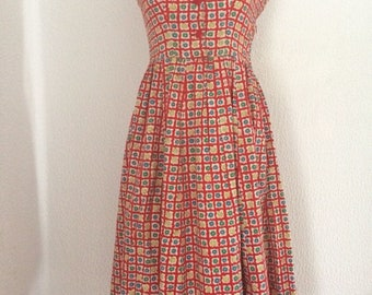 1940s Vintage Red With Floral Print Cotton Dress.