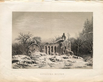 Instant Download Alvastra Abbey Ruins Sweden 400 Dpi Antique Print Repro For Crafting Collage German