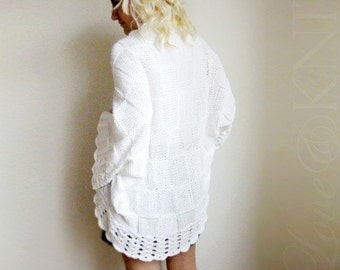 Big White Cardigan- Hand Knitted Plus Size Over Size Tunic
