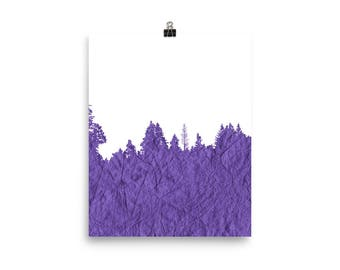 Purple Forest Textured Silhouette Art Print