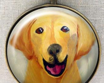 Jaune porte-clé Lab ~ April Birthday ~ chien accessoire ~ Pet souvenir ~ jaune laboratoire Peinture ~ Portrait de chien