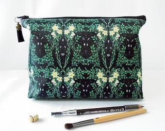 Gifts for her, Wash bag, green, leafy greens, travel bag, cosmetic bag, zip bag, make up bag.