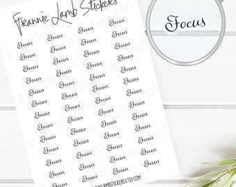 Focus Planner Stickers (COLOR OPTIONS), 52 Clear Matte Stickers, Planner Stickers, Text Stickers, See Through Stickers, Labels