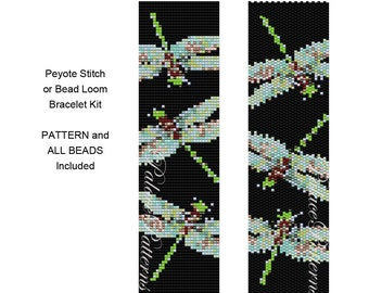 Bead Loom or Peyote Stitch Bracelet Kit - Delica Bracelet Bead Weaving KIT P24- Includes Pattern and Beads - Dragonfly on Black