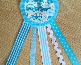 Birthday badge rosette with vintage linen car design for a first birthday
