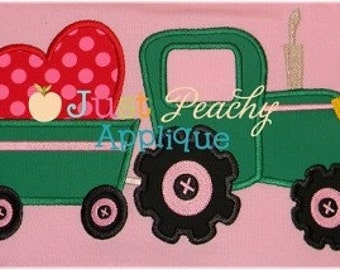 Heart Tractor Set Machine Embroidery Applique Design