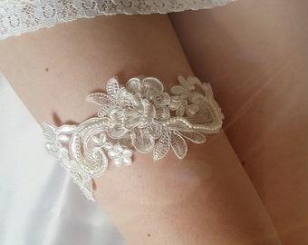 Ivory garter, lace garter, bridal garter - Embellished floral wedding garter