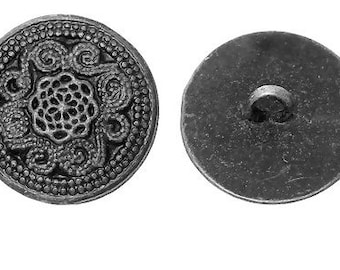 Antique Silver Carved Flower Sewing Metal Buttons - Pack of 4